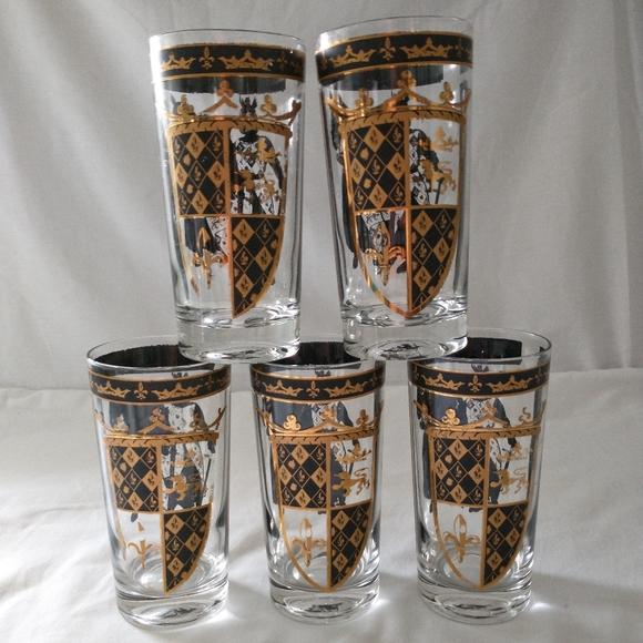 MCM Black Gold Highball Glasses Set of 5 Coat of A